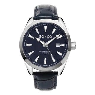 SO&CO New York Men's Madison Quartz Blue Dial Leather Strap Watch