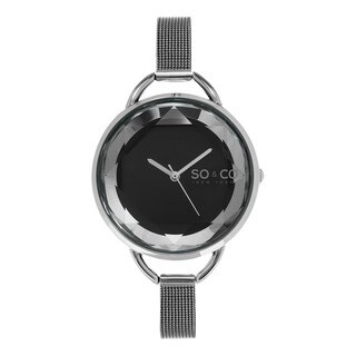 SO&CO New York Women's SoHo Quartz Crystal Watch with Stainless Steel Mesh Bracelet