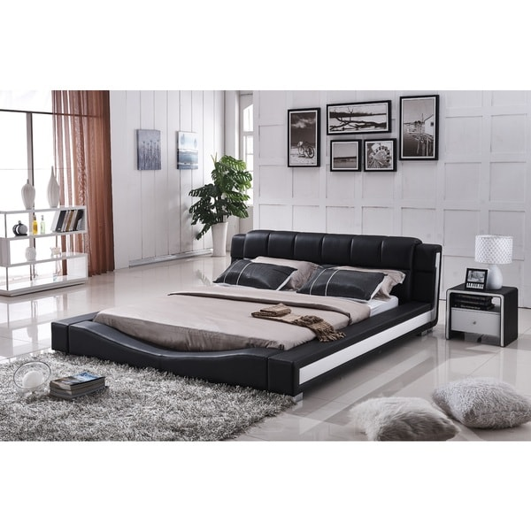 Liam Black and White Faux Leather Contemporary Platform Bed