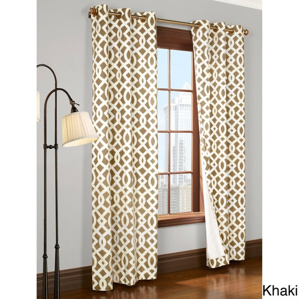 Trellis Printed Thermal Insulated Curtain Panel Pair in Khaki (As Is Item)