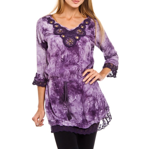 Women's Angel Purple Tie Dye 3/4 Sleeve Top
