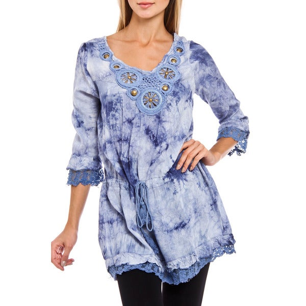 Women's Angel Blue Tie Dye 3/4 Sleeve Top
