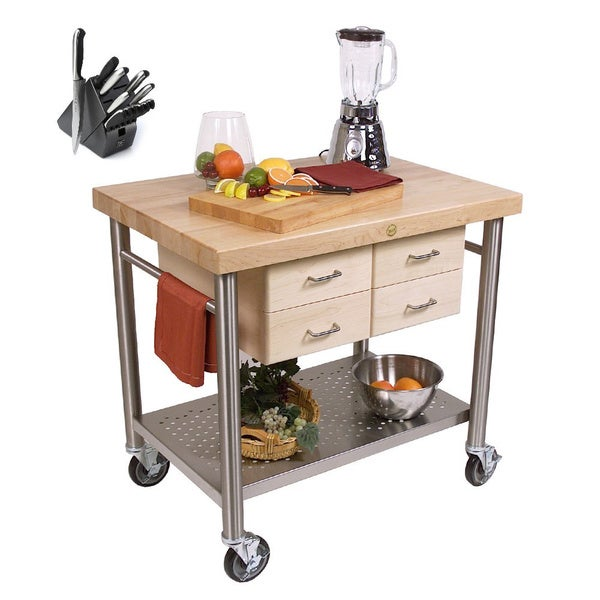John Boos Cucina Venito Cart with 13 Piece Knife Set