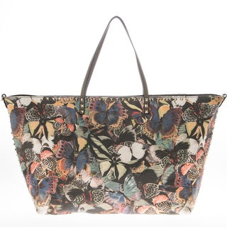 Valentino Rockstud Camubutterfly Canvas Tote