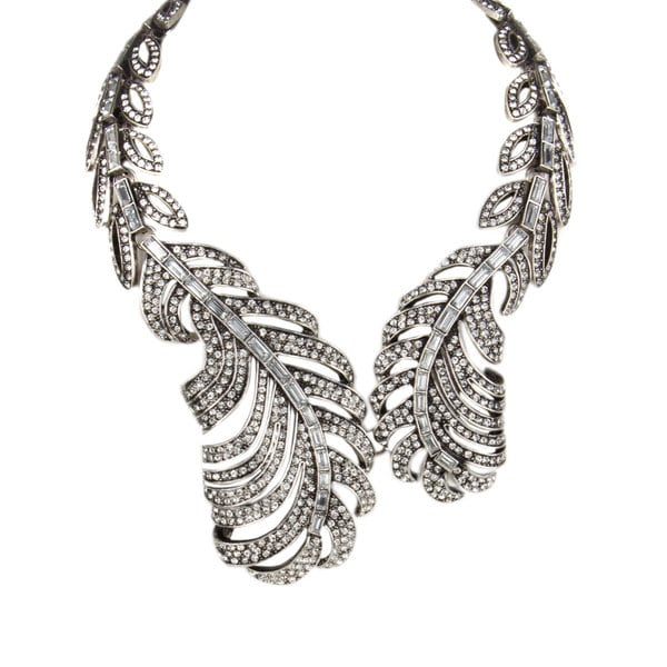 Silvertone Leaf Fashion Statement Necklace