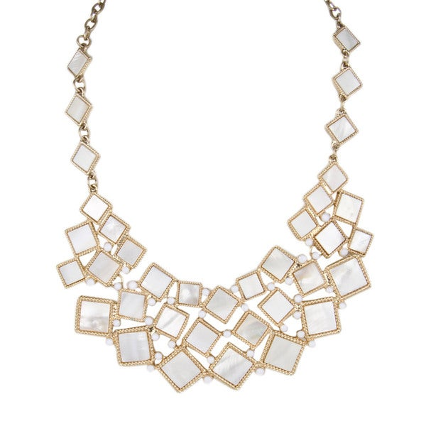 Zinc Alloy Goldtone and White Statement Necklace