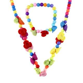 Little Girl Colorful Flower Bead Necklace and Bracelet Set