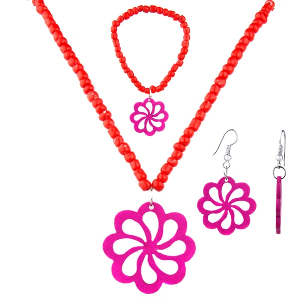 Little Girl Red Flower Jewelry Set