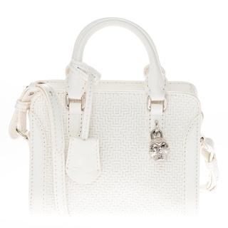 Alexander McQueen Mini Woven Leather Padlock Handbag
