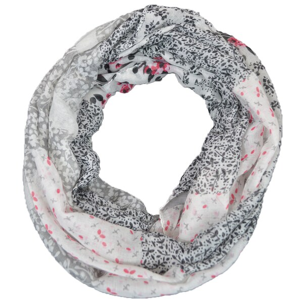 LA77 Off-white Floral Infinity Scarf