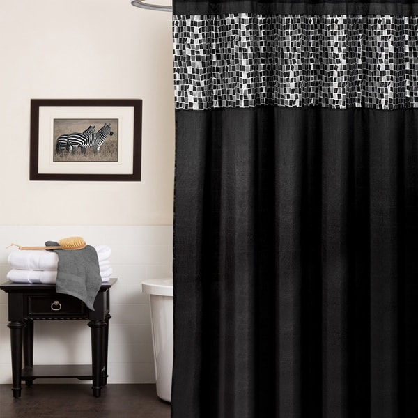 classic black and silver tile patchwork shower curtain and hooks or
