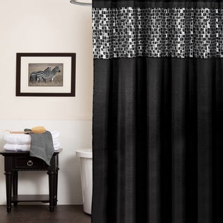 Classic Black and Silver Tile Patchwork Shower Curtain and Hooks or Separates