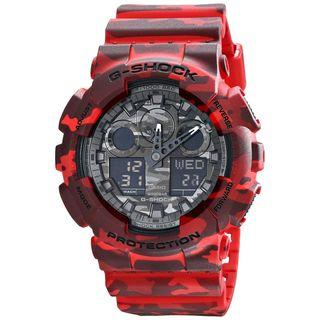 Casio Men's GA-100CM-4ACR 'G-Shock' Chronograph Red Resin Watch