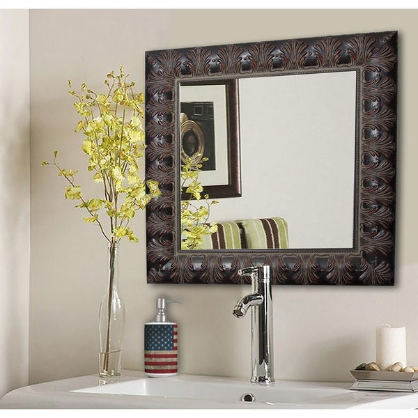 American Made Rayne Feathered Accent Vanity Wall Mirror - Mahogany 15644717