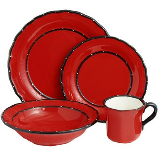 Country French Collection Red Hand-painted 16-piece dinner set