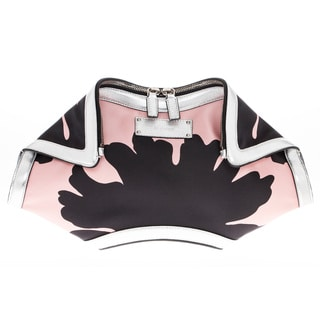 Alexander McQueen Large DeManta Floral Print and Metallic Clutch