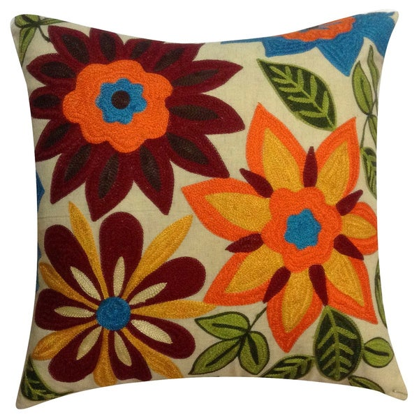 Auburn Textiles Beautiful Flower Embroidery Pillow with Polyester Insert