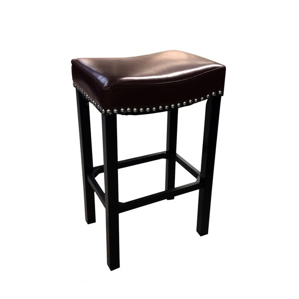 Tudor Bonded Leather Backless Stationary Barstool