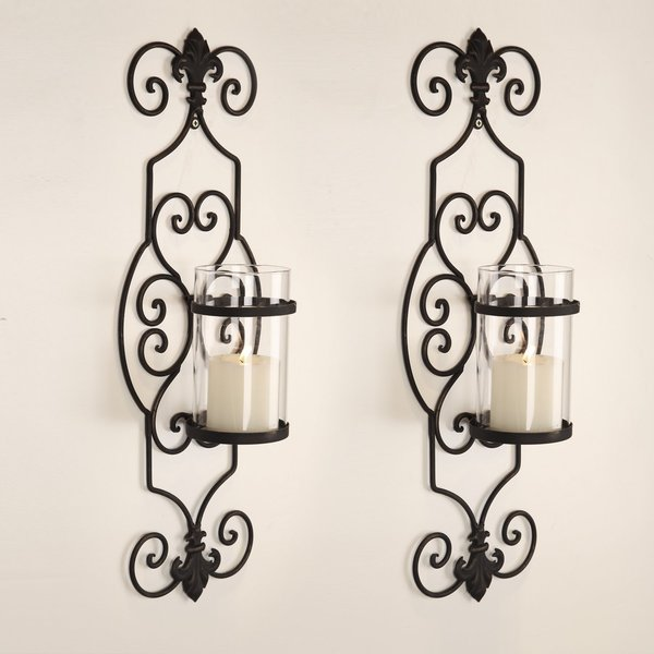 Adeco Iron and Glass Vertical Wall Hanging Candle Holder Sconce (Set of 2) 15645200