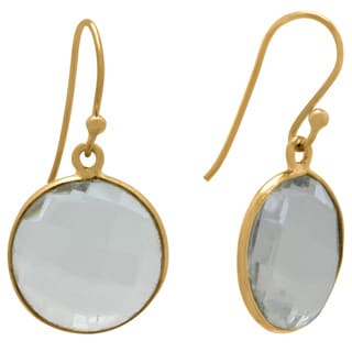 Gioelli Yellow Goldplated Sterling Silver Round Clear Hydro Quartz Faceted Dangle Earrings