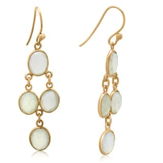 Gioelli Yellow Goldplated Sterling Silver White Oynx Faceted Chandelier Dangle Earrings