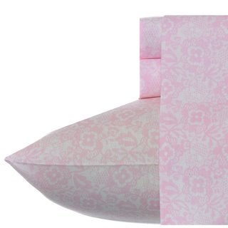 Betsey Johnson Floral Lace Soft Pink Sheet Set