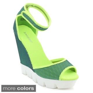 BAMBOO ELLEN-07 Women's Ankle Strap Lug Sole Platform Wedge Sandals