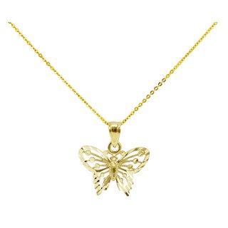 14k Yellow Gold Diamond-cut Petite Butterfly Necklace