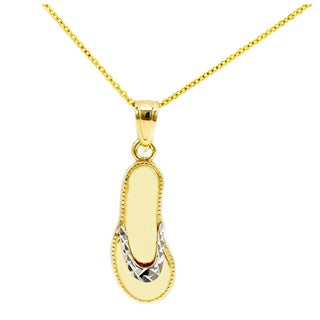14k Two-tone Gold Beach Flip Flop Sandal Necklace