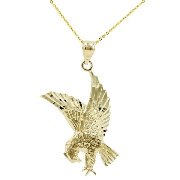 14k Yellow Gold Flying Eagle Necklace