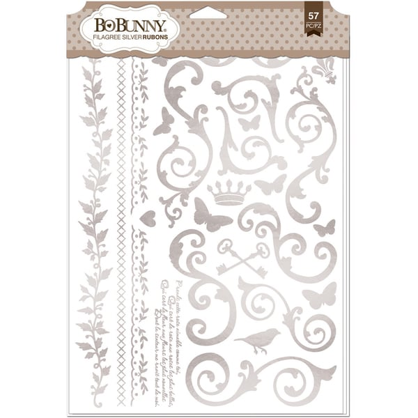 BoBunny Foil Rub Ons 9inX12.5in Silver Filigree