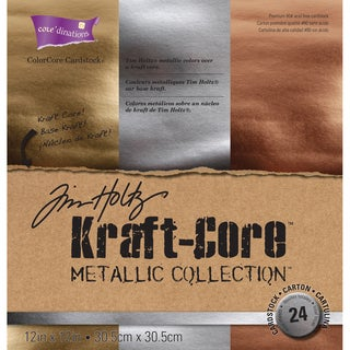 Core'dinations Kraft Core Metal Cardstock 12inX12in 24/Pkg Assorted Colors