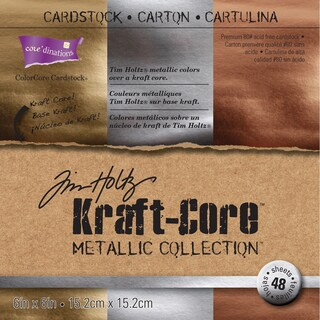 Core'dinations Kraft Core Metal Cardstock 6inX6in 48/Pkg Assorted Colors