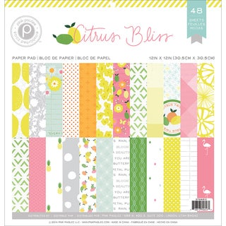 Pink Paislee Paper Pad 12inX12in 48/Pkg Citrus Bliss