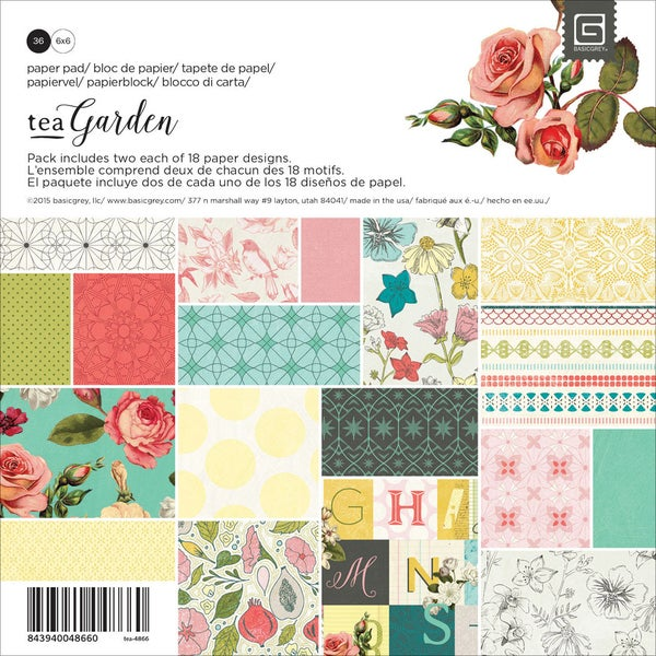 Basic Grey Paper Pad 6inX6in 36/Pkg Tea Garden
