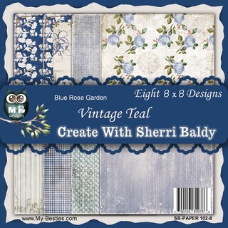My Besties 8inX8in Single Sided Paper 8 Sheets/Pkg Blue Rose Garden Vintage Teal