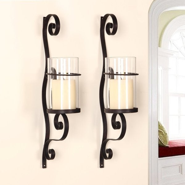 Long Vertical Wall Sconces : Adeco Iron and Glass Vertical Wall Hanging Candle Holder Sconce - 17395332 - Overstock.com ...