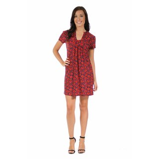 24/7 Comfort Apparel Women's Red Floral Classic Dress