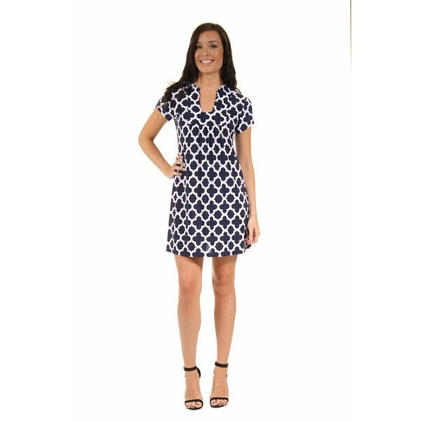 24/7 Comfort Apparel Women's Navy Blue Clover Classic Dress