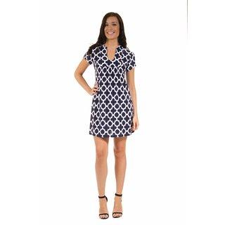24/7 Comfort Apparel Women's Navy Blue Clover Classic Dress
