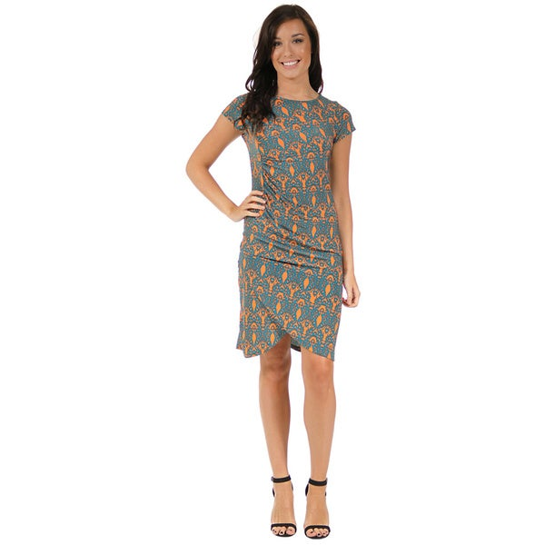24/7 Comfort Apparel Women's Dynamic Orange and Teal Cinch Dress