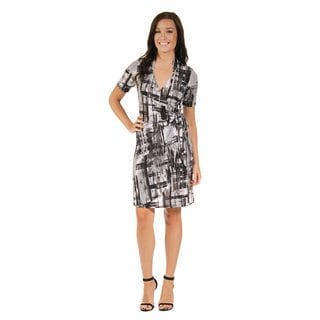 24/7 Comfort Apparel Women's Abstract Gray Wrap Dress