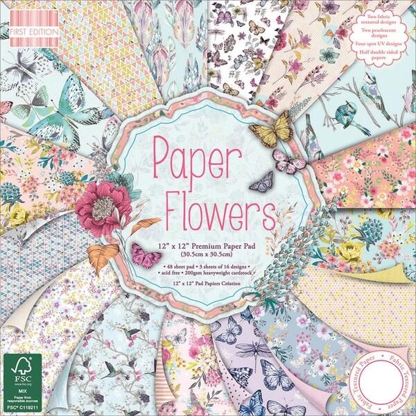 First Edition Premium Paper Pad 12inX12in 48/Pkg Paper Flowers