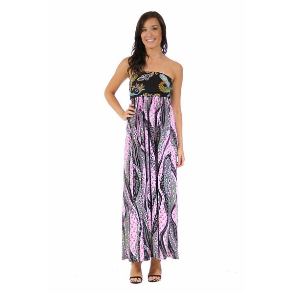 24/7 Comfort Apparel Women's Black and Rose Floral Maxi Dress
