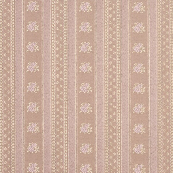D126 Gold And Pink Floral Striped Brocade Upholstery Fabric By The Yard
