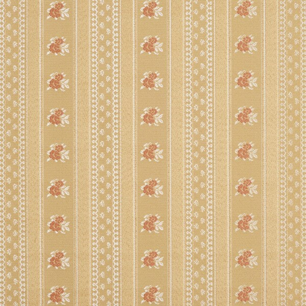 D128 Gold White And Red Floral Striped Brocade Upholstery Fabric By The Yard