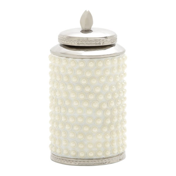 White 15-inch High Ceramic Jar