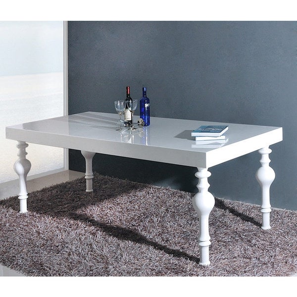 Modrest Nayri Transitional White Rectangular High Gloss Dining Table