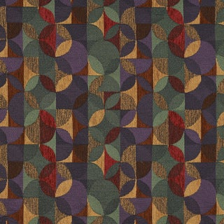 F513 Purple Green And Red Geometric Chenille Upholstery Fabric By The Yard