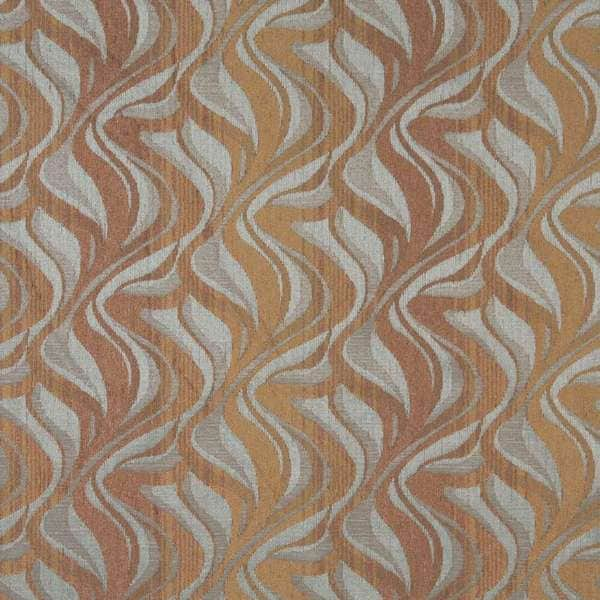 F516 Brown And Blue Abstract Flame Chenille Upholstery Fabric By The Yard